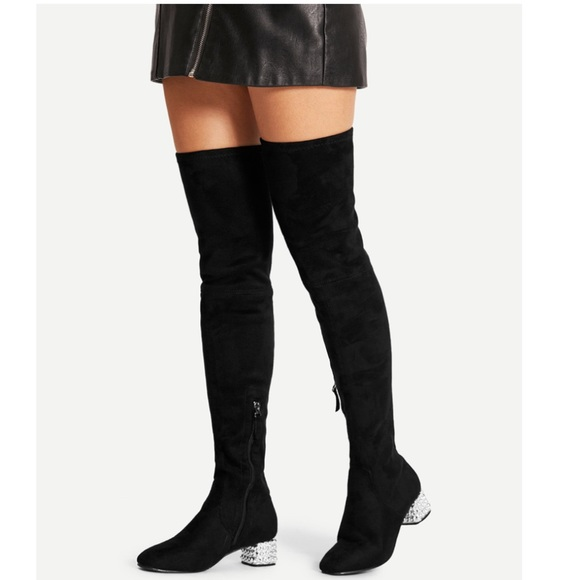 a227590c1c shein Shoes | Black Thigh High Suede Boot | Poshmark
